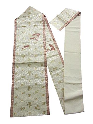 剥ぎ取るフレキシブルおじいちゃんリサイクル 名古屋帯 刺繍 金彩 菱格子に扇文 正絹