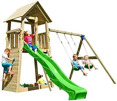 MASGAMES | Parque infantil Torre Belvedere XL | con columpio doble de dos plazas | plataforma