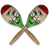 Set of 2 Crisp Rattle Large Wooden Mexican Maracas 11 Inches