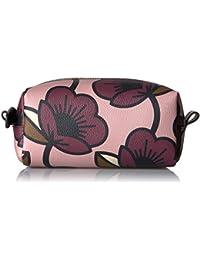 Passion Flower Print Textured Vinyl Cosmetic Bag