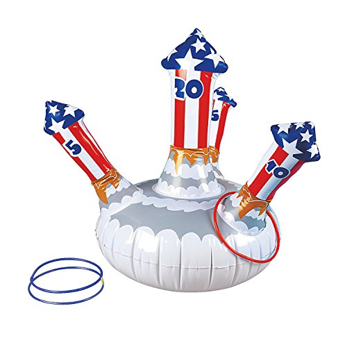 4th Of July Party Games (Fun Express Patriotic Inflatable Fireworks Ring Toss Game - Fourth of July)