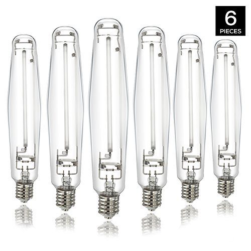 iPower 1000 Watt High Pressure Sodium HPS Grow Light Bulb Lamp, High PAR Enhanced Red and Orange Spectrums CCT 2100K, 6-PACK