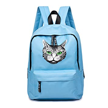 Amazon.com | Teen Girl Printed Cat Canvas Large Capacity Backpack | Casual Daypacks