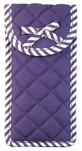 Soft Eyeglass Case (Pouch), Velcro Flap Closure, Canvas Fabric, Purple
