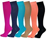 6 Pairs Pack Women Travelers, Anti-Fatigue, Graduated Compression Knee High Socks 9-11 (Assorted Solid)