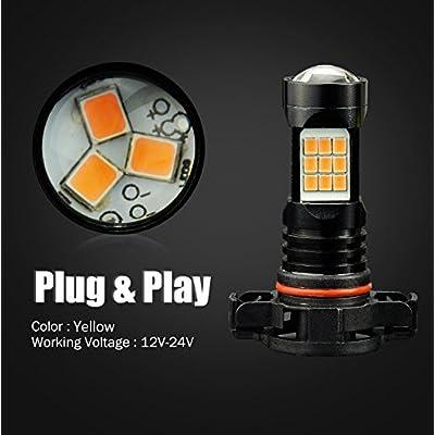 JDM ASTAR Bright Amber PX Chips 5202 5201 LED Fog Light Bulbs: Automotive