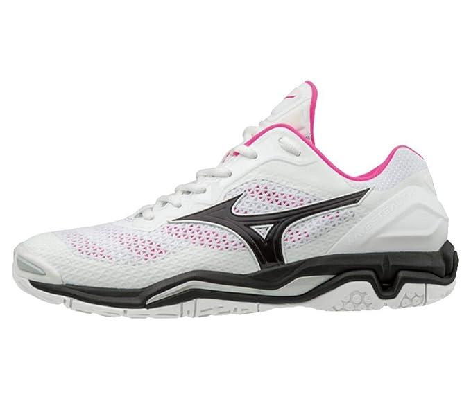 Mizuno Wave Stealth V Mujer Zapatillas de balonmano - White/Pink: Amazon.es: Ropa y accesorios