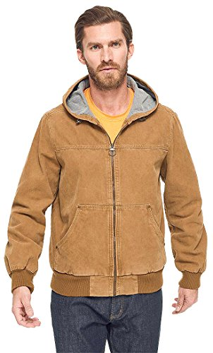 (G.H. Bass & Co Men's Canvas Hooded Bomber Jacket; Brown (Large))