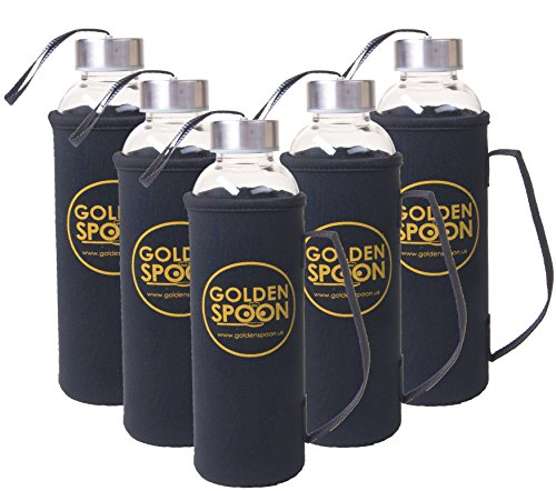 Funnel Case Pack (Glass Water Bottles With Sleeves - 18 Oz - By Golden Spoon - Pack Of 6 - Sturdy & Durable Construction - Stainless Steel Caps With Carrying Loop - Ideal For Beverages, Juice & Water, Lead and BPA Free)