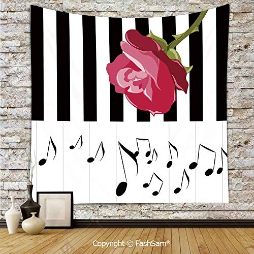 FashSam Tapestry Wall Blanket Wall Decor Hand Drawn Red Rose on Piano with Musical Notes Romantic Instrumental Art Home Decorations for Bedroom(W59xL78)