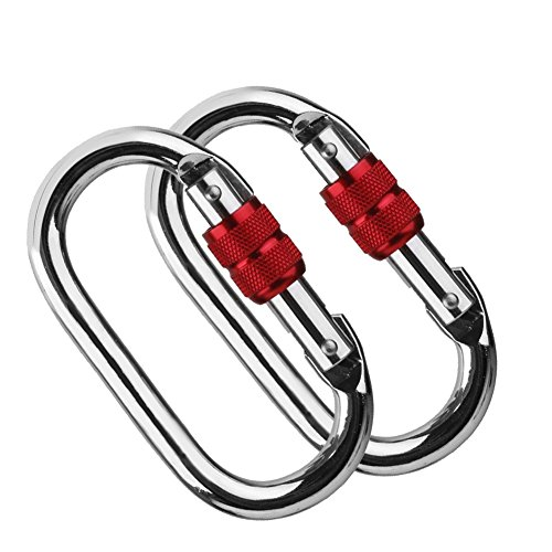 2 Pack O-Shaped Climbing Carabiner(25KN=5600 lb) Super Strength Steel Screw Lock Protection Carabiner Clip For Climbing Hiking Yoga Hammock and more - Silver (Catch Device Belay)