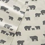 Eddie Bauer 216284 Bear Family Flannel Sheet Set, Twin, Gray