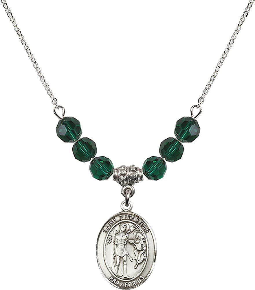 18-Inch Rhodium Plated Necklace with 6mm Emerald Birthstone Beads and Sterling Silver Saint Sebastian Charm.