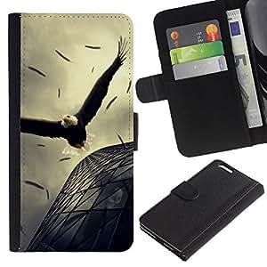 Paccase / Billetera de Cuero Caso del tirón Titular de la tarjeta Carcasa Funda para - Eagle Soaring Flight Architecture Powerful - Apple Iphone 6 PLUS 5.5
