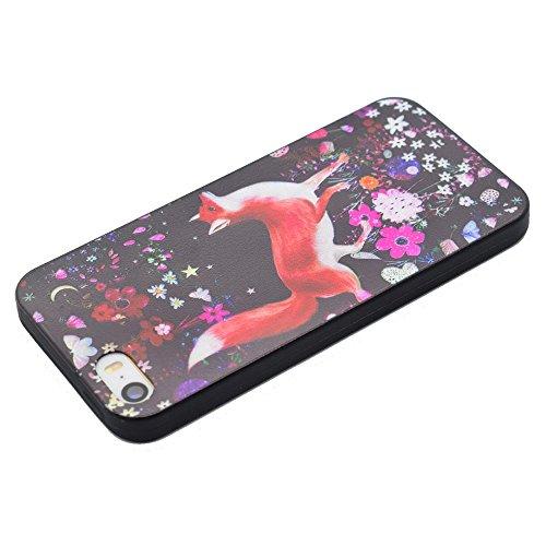 Pattern Printing TPU Tasche Hüllen Schutzhülle Case - Cover für iPhone SE/5s/5 - Fox and Flowers
