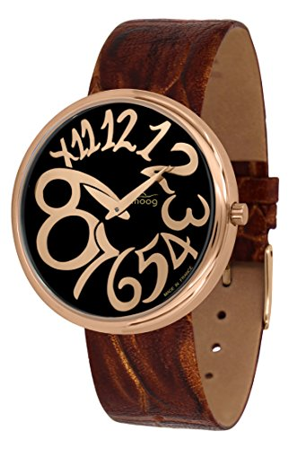 Moog Paris Ronde Art-Deco Women's Watch with Black & Rose Gold Dial, Brown Strap in Genuine Leather - M41671-E41 ()