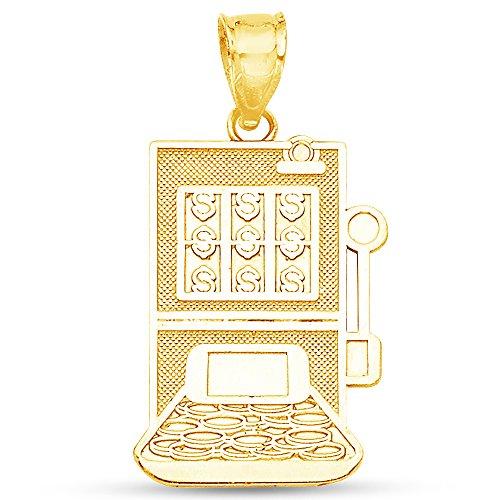 Jewel Tie Solid 14K Yellow Gold Milgrain Casino Slot Machine Pendant Charm 21x15 mm