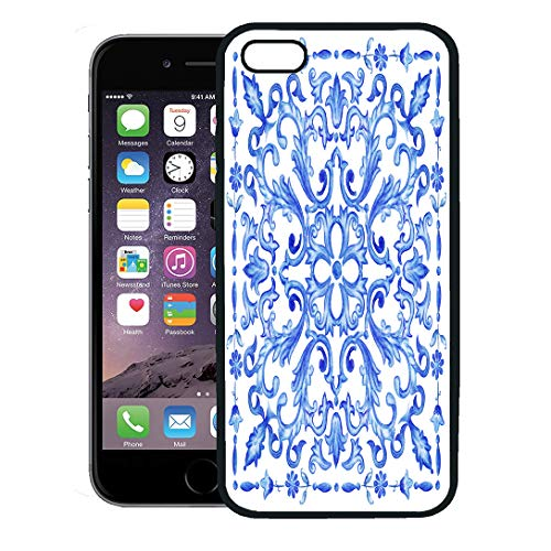 Semtomn Phone Case for iPhone 8 Plus case,Portugal Azulejos Portuguese Tiles Blue Watercolor Pattern Traditional Tribal Spanish iPhone 7 Plus case Cover,Black