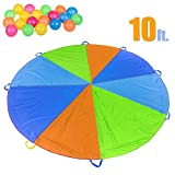 FUN LITTLE TOYS Parachute 10 Foot for Kids With 8 Sturdy Handles, Party Outdoor Gymnastics Cooperative Games for Kids, Include 20 Colorful Plastic Balls