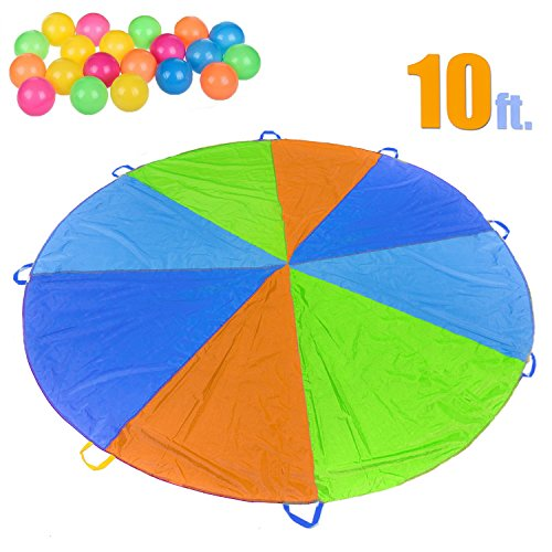 10 Foot Parachute for Kids with 8 Sturdy Handles, Outdoor Games for Kids Gymnastics Cooperative Games, Kids Outdoor Toys Include 20 Colorful Plastic Balls, Kids Birthday Gifts