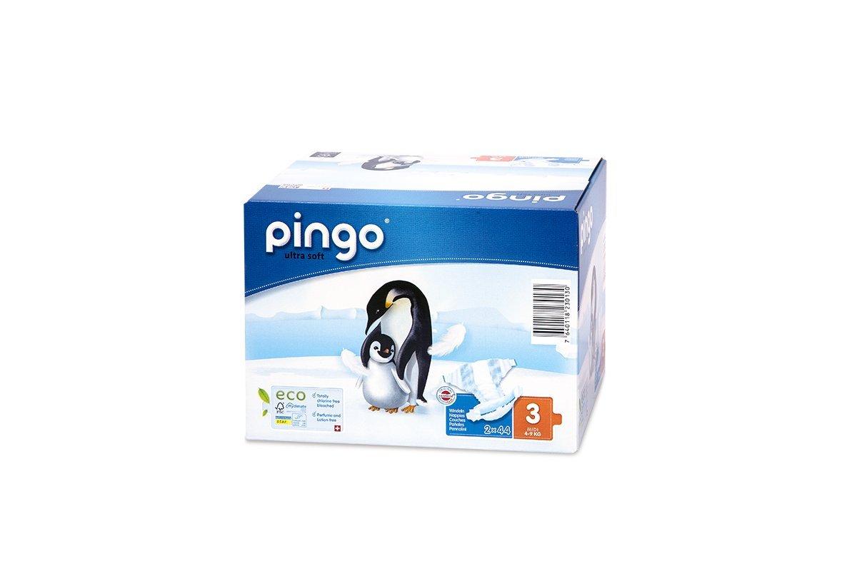 Pingo Pañales Talla 3 Midi (4-9 kg) - Caja de 2 x 44 Pañales - Total: 88 Pañales Pañales Pingo 0130-02