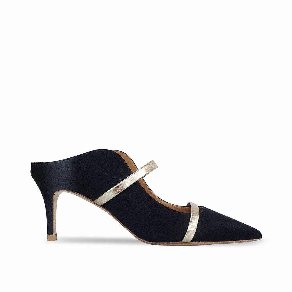 DHG Mulei Baotou Flacher Mund Hochhackige Mulei DHG Schuhspitze mit Feinen Sandalen und Pantoffeln,Schwarz,37 - 96ca6f