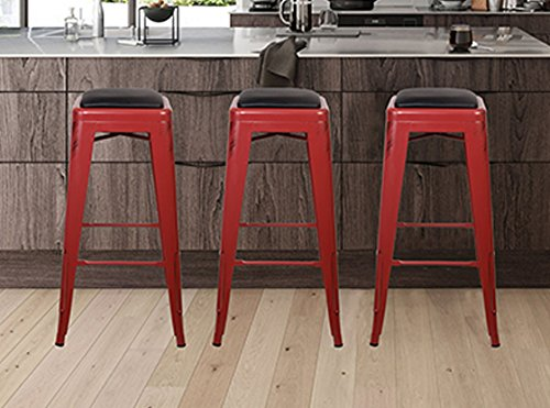 Gia Antique Red 30 Quot Metal Stool With Black Leather Cushion