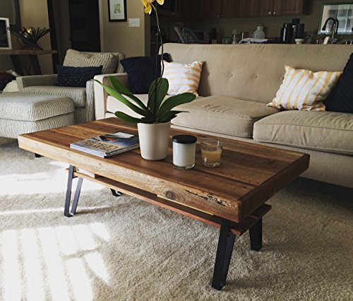Reclaimed Wood Farmhouse Coffee Table with Flatiron Legs and Shelf - 34