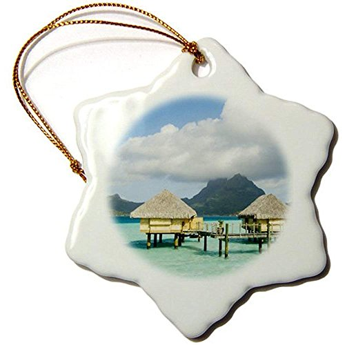 Bowen Rhodes Pearl Beach Resort, Bora-Bora, French Polynesia-Oc13 Spi0022-Sergio Pitamitz-Snowflake Ornament, 3-Inch, Porcelain ()