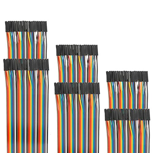 EDGELEC 120pcs 20cm Dupont Wire Female to Female Breadboard Jumper Wires 3.9 inch 1pin-1pin 2.54mm Connector Multicolored Ribbon Cables DIY Arduino Wires 10 15 20 30 40 50 100cm Optional