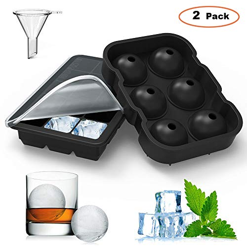 Square Tray Set - Homgeek Ice Cube Trays Silicone Set of 2, 15 Cavity Square Ice Cubes & Sphere Round Ice Ball Mold with Lid Bpa Free, for Whiskey and Cocktails, Keep Drinks Chilled Black
