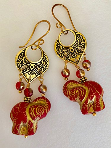 Czech Red Elephant Earrings, Scarlet Red Glass Elephant Earrings, Bali Chandelier Earrings, Moroccan, Tribal, Ethnic, Antique Gold Pewter. -