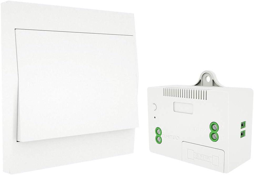 RF433 Interruptor inalámbrico Sin batería Control remoto Interruptor de luz de pared Autoalimentado Sin necesidad de cableado Transmisor de panel de pared (kit de 1 vía)