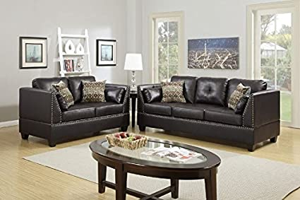 Amazon.com: Simple Relax Modern Sofa Set Couch Loveseat Trim ...