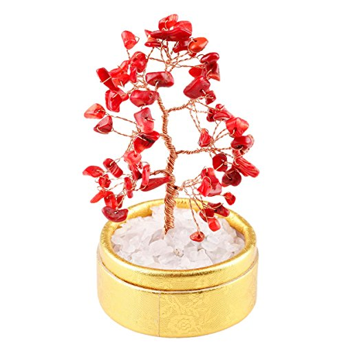 SUNYIK Red Coral Money Tree Bonsai Tumbled Stone Lucky Fengshui Healing Decoration 4 (Red Coral Stone)