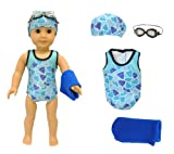 Doll Clothes - Swimsuit Set : Bikini, Towel, Goggles & Cap Fits American Girl Dolls, Madame Alexander and other 18 inches Dolls
