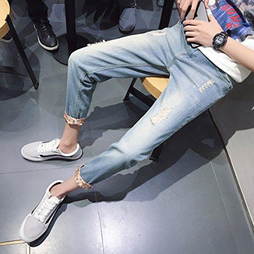 Retro Blu Strappo Del Foro Matita Pantaloni Affusolati Jeans Stile Uomo Sottili Stretch w6ZvZqP