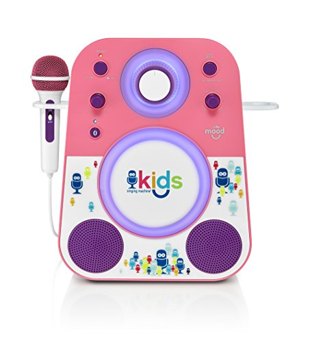 Singing Machine Kids Mood LED Glowing Bluetooth Sing-Along Speaker with Wired Youth Microphone Doubles as a Night Light, Pink/Purple, SMK250PP)