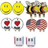 Golf Hat Clip - Golf Ball Marker Magnetic Hat Clips - Assorted Patterns Detachable Marker 2 Pcs