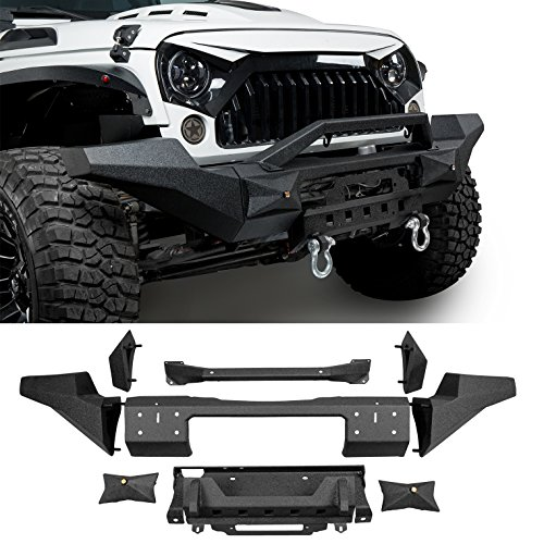 2018 Jeep JK Off-Road Front Bumper SEPARABLE Bumper w/Winch Plate & Light Mount,Bolt-on Installation (Hd Front Winch Bumper)