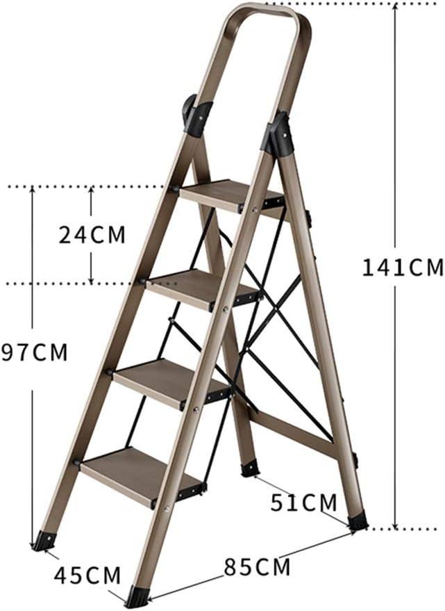 XEWNEG Escalera Plegable De Aluminio De 4 Escalones, Pasamanos Portátiles De Seguridad For El Hogar con Alfombrilla Antideslizante 150 Kg De Capacidad Máxima: Amazon.es: Hogar
