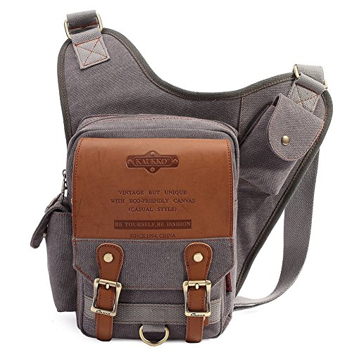 Mens Boys Vintage Canvas Shoulder Military Messenger Bag Sling School Bags Chest Military Leather Patchwork Messenger Bag- Great Christmas Birthday Gift for Families and Friends (Gray)