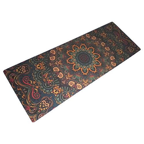 Sága Yoga Blue Mandala Cork Yoga Mat – Portable and Durable Mat with Soft Cushioning | Fitness and Exercise Mat by Sága Yoga