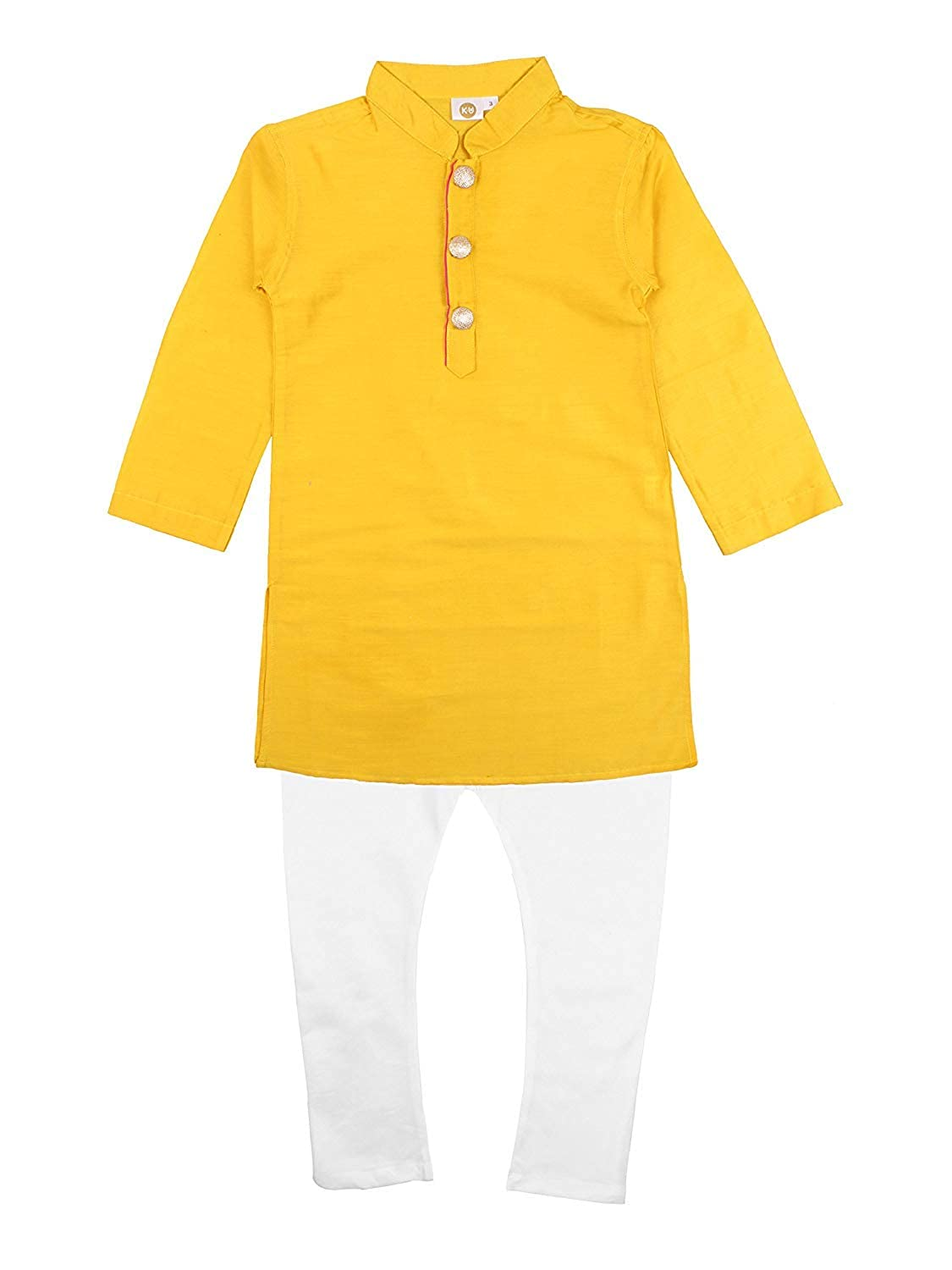 7014 Yellow Kurta with White Pajama K/&U Boys Regular Fit Silk Kurta Pajama Set