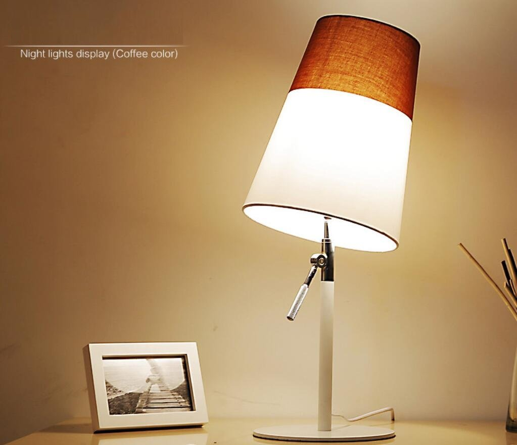 GL&G Modern Adjustable High Protection Eye Lamp Bedroom Study Reading Lighting Creative Fashion Bedside Lamp (Push Button Switch),Coffee,2360CM by GAOLIGUO (Image #2)