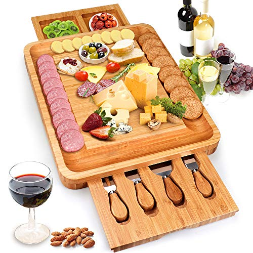 Bamboo Cheese Board Meat Charcuterie Platter Serving Tray With Two Hidden Slide out Drawers & 4 Pieces of Tableware, Home Kitchen Food Plate, Entertain Serve Family Friend Guest or As - Serving Plate Cheese