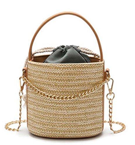 Bolso De Hombro Straw Beach Para Mujer Bolso Ligero De Cubo,Natural Khaki
