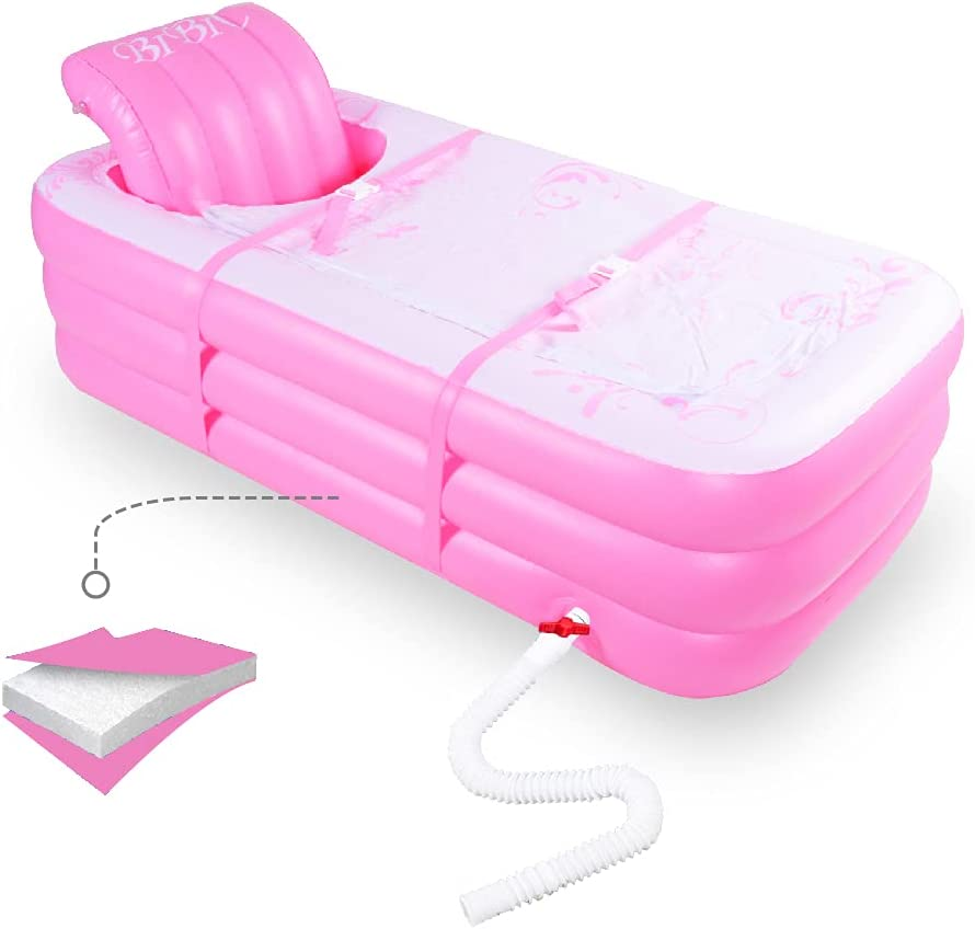 Inflatable Portable Bathtub, Inflatable Bath Tub for Adult Home Spa and Hot Bath and Ice Bath, Foldable Freestanding Bathtub with Assemblable Seat Cushion (pink)