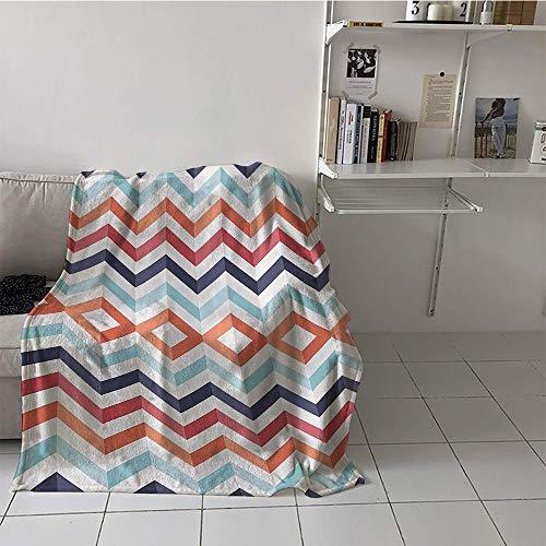Khaki home Children's Blanket Room/Bedroom Soft Blanket Microfiber (50 by 60 Inch,Geometric Textiles Print,Zig Zag Lines Chevron Stripes ()