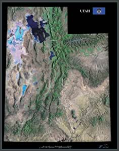 """Utah from space satellite map/print poster/ picture: 26"""" x 33"""" Glossy"""